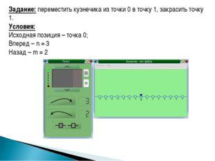 Задание: переместить кузнечика из точки 0 в точку 1, закрасить точку 1. Услов