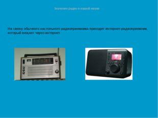 Значение радио в нашей жизни На смену обычного настольного радиоприемника при