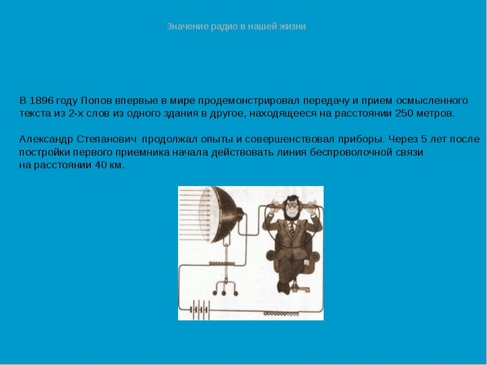 В 1896 году Попов впервые в мире продемонстрировал передачу и прием осмысленн...
