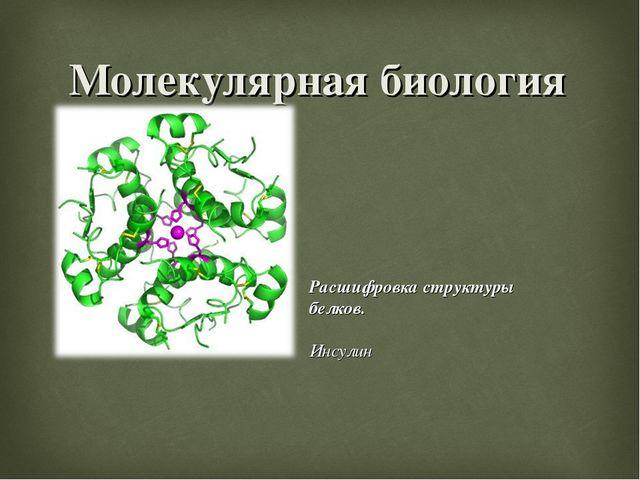 Молекулярная биология Расшифровка структуры белков. Инсулин