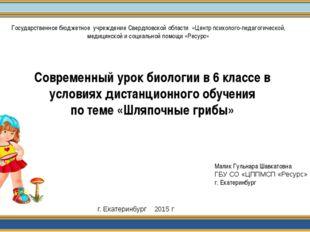 Малик Гульнара Шавкатовна ГБУ СО «ЦППМСП «Ресурс» г. Екатеринбург г. Екатерин