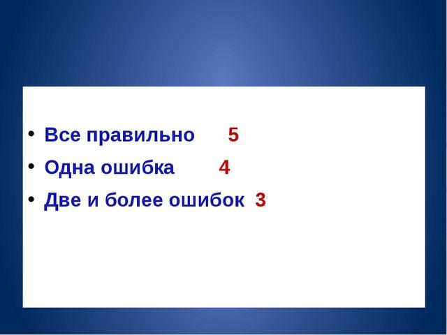Все правильно 5 Одна ошибка 4 Две и более ошибок 3