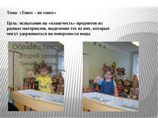 Тема: «Тонет – не тонет» Цель: испытание на «плавучесть» предметов из разных