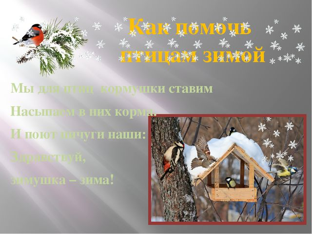 Как помочь птицам зимой Мы для птиц кормушки ставим Насыпаем в них корма. И п...