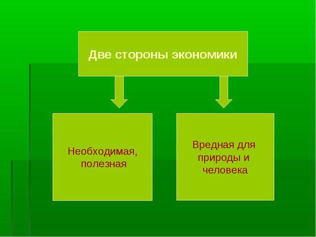 Две стороны экономики Необходимая, полезная Вредная для природы и человека