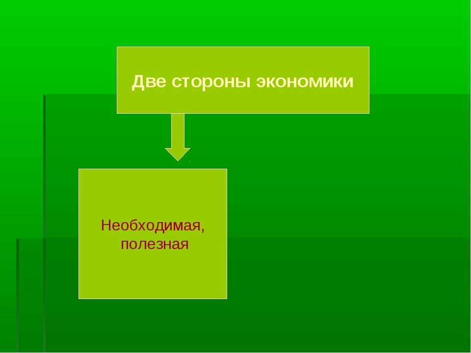 Две стороны экономики Необходимая, полезная