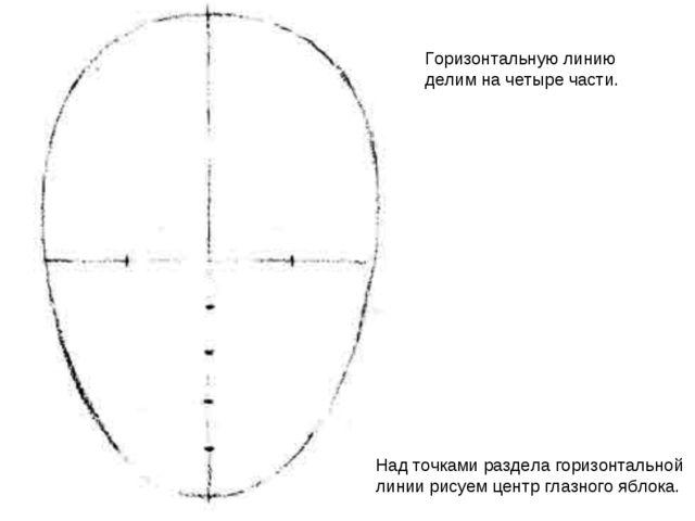 Горизонтальную линию делим на четыре части. Над точками раздела горизонтально...