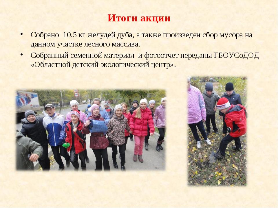 Итоги акции Собрано 10.5 кг желудей дуба, а также произведен сбор мусора на д...