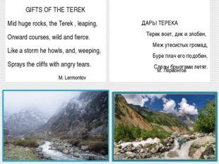 GIFTS OF THE TEREK Mid huge rocks, the Terek , leaping, Onward courses, wild