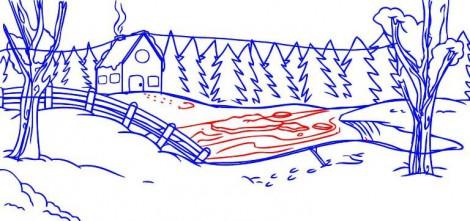 рисунки зимы карандашом
