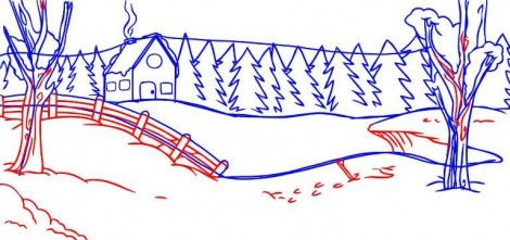как рисовать зиму карандашом