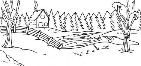 как нарисовать зимний пейзаж карандашом