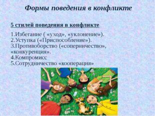 Формы поведения в конфликте 5 стилей поведения в конфликте 1.Избегание ( «ухо