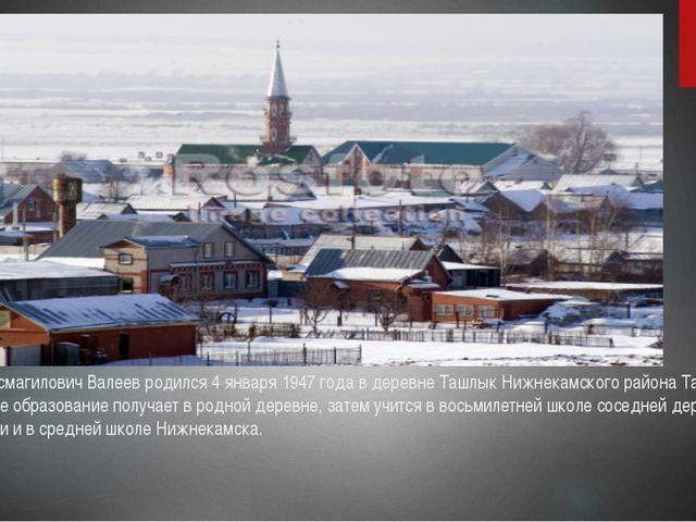 Разиль Исмагилович Валеев родился 4 января 1947 года в деревне Ташлык Нижнека...