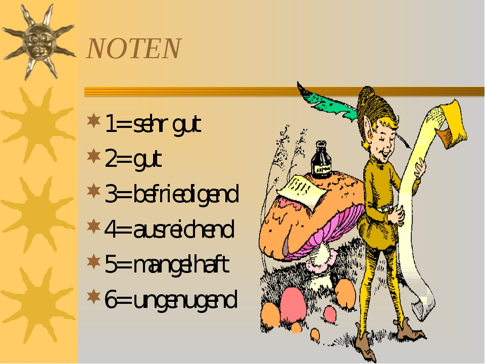 NOTEN 1= sehr gut 2= gut 3= befriedigend 4= ausreichend 5= mangelhaft 6= unge...