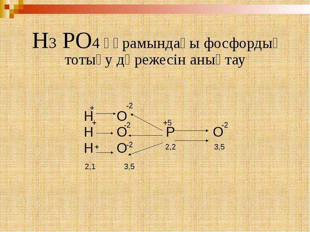 H3 PO4 құрамындағы фосфордың тотығу дәрежесін анықтау Н О Н О Р О Н О -2 3,5...