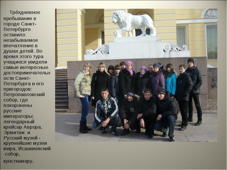 Трёхдневное пребывание в городе Санкт-Петербурге оставило незабываемое впеча...