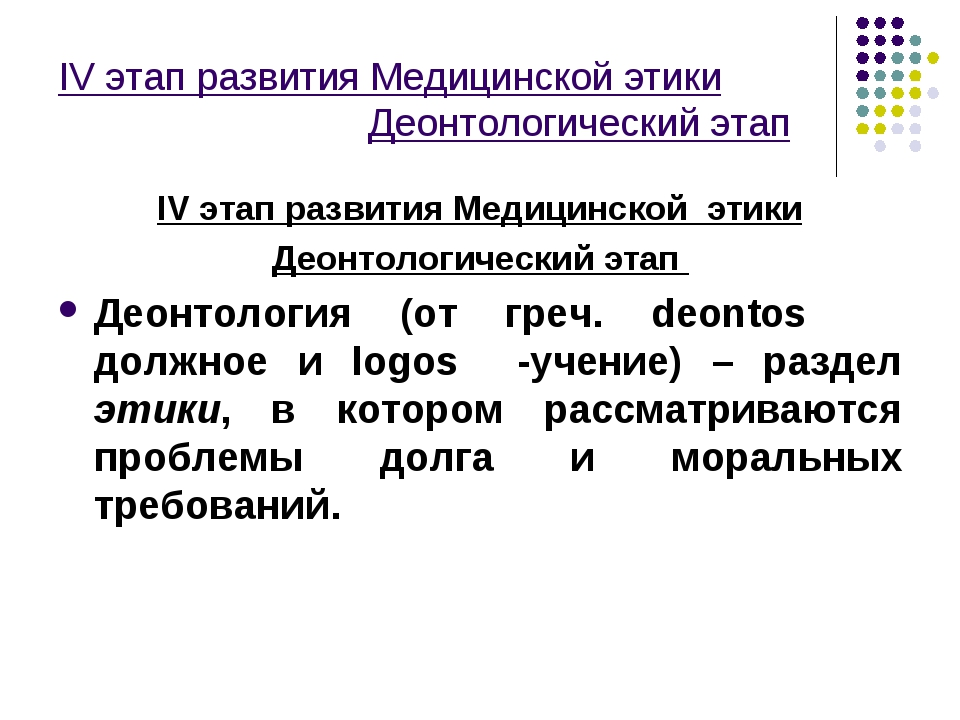 IV этап развития Медицинской этики Деонтологический этап IV этап развития Мед...