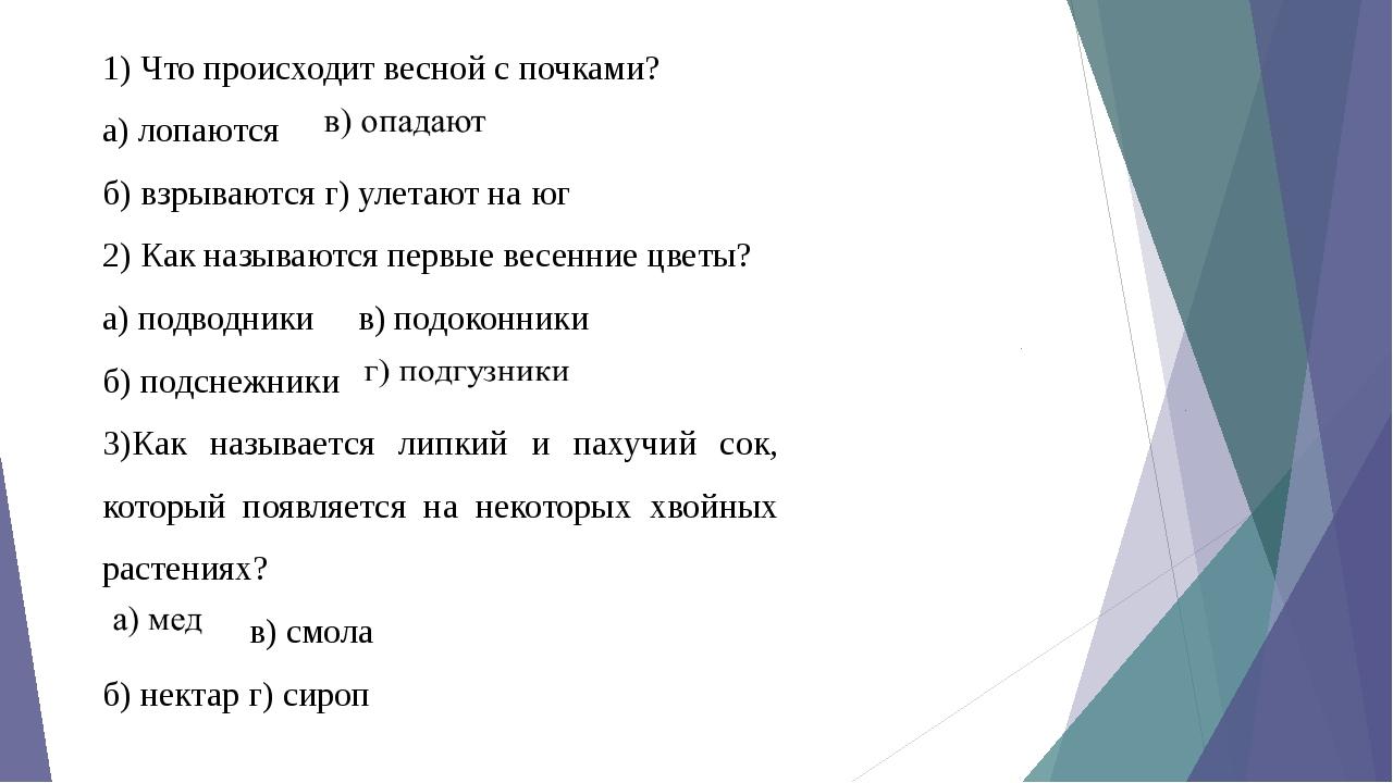 1) Что происходит весной с почками? а) лопаются б) взрываются г) улетают...