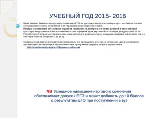 УЧЕБНЫЙ ГОД 2015- 2016 Цель замены бывшего выпускного сочинения ЕГЭ по русско