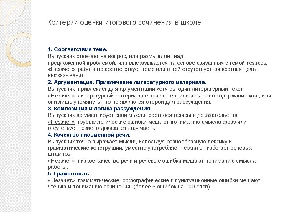 Критерии оценки итогового сочинения в школе 1. Соответствие теме. Выпускник о...