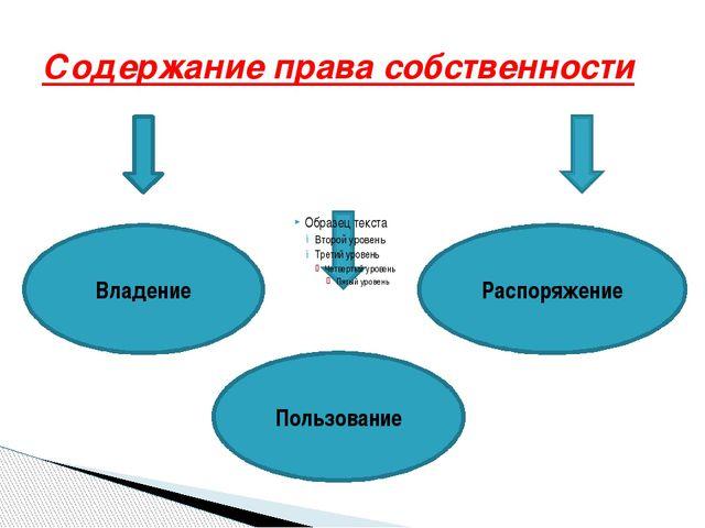 Содержание права собственности Владение Пользование Распоряжение