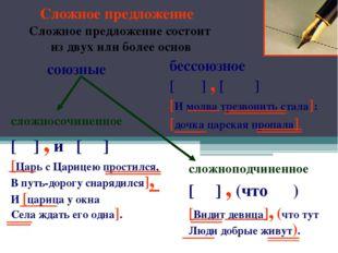 Сложное предложение Сложное предложение состоит из двух или более основ сложн