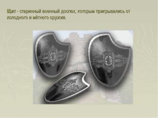 Щит - старинный военный доспех, которым прикрывались от холодного и мётного о