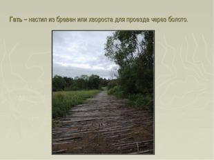 Гать – настил из бревен или хвороста для проезда через болото.