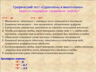 Графический тест «Одночлены и многочлены» Верно ли утверждение, определение,