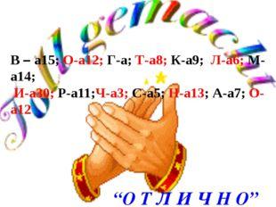 В – а15; О-а12; Г-а; Т-а8; К-а9; Л-а6; М-а14; И-а30; Р-а11;Ч-а3; С-а5; Н-а13;
