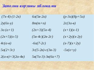 Заполни корзины яблоками (7х-4)-(1-2х) 6а(5в-2а) (р-3а)(8р+5а) 2у(6х-у) 8т(т+