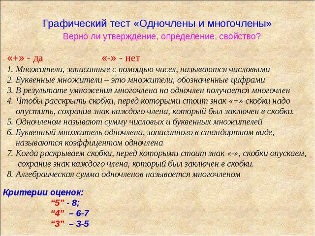 Графический тест «Одночлены и многочлены» Верно ли утверждение, определение,...