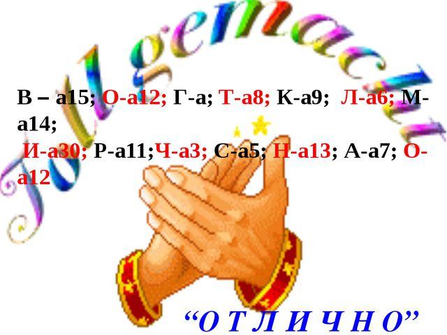 В – а15; О-а12; Г-а; Т-а8; К-а9; Л-а6; М-а14; И-а30; Р-а11;Ч-а3; С-а5; Н-а13;...