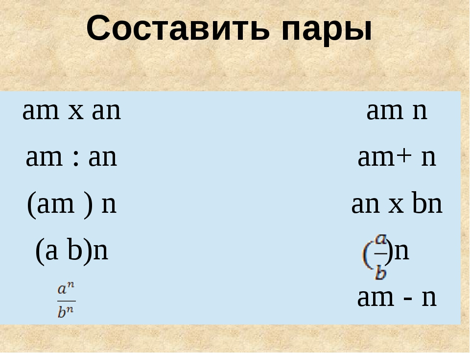 Составить пары amx an am n am: an am+ n (am)n anx bn (a b)n )n am - n