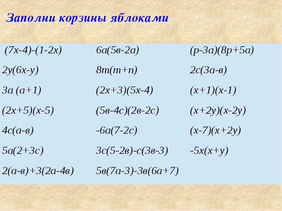 Заполни корзины яблоками (7х-4)-(1-2х) 6а(5в-2а) (р-3а)(8р+5а) 2у(6х-у) 8т(т+...