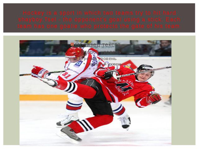 Hockey is a sport in which two teams try to hit hard shayboy.Tsel - the oppon...