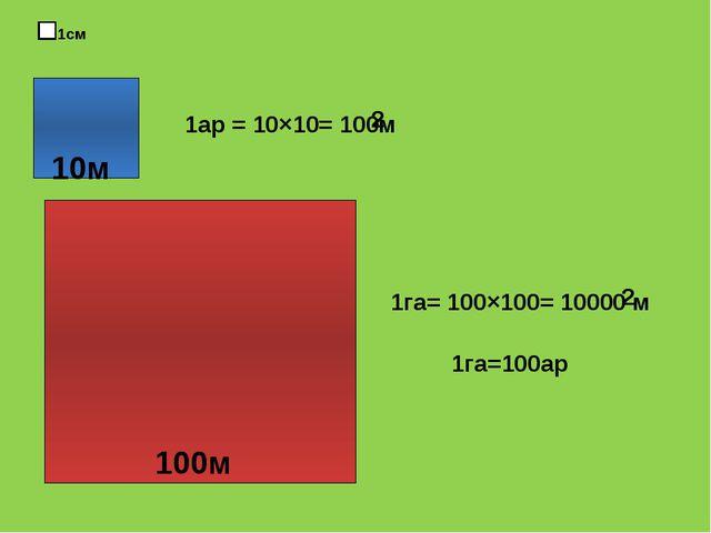 1 1см 10м 1ар = 10×10= 100м 2 1га= 100×100= 10000 м 2 1га=100ар 100м