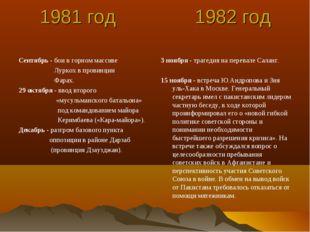 1981 год 1982 год Сентябрь - бои в горном массиве Луркох в провинции Фарах.
