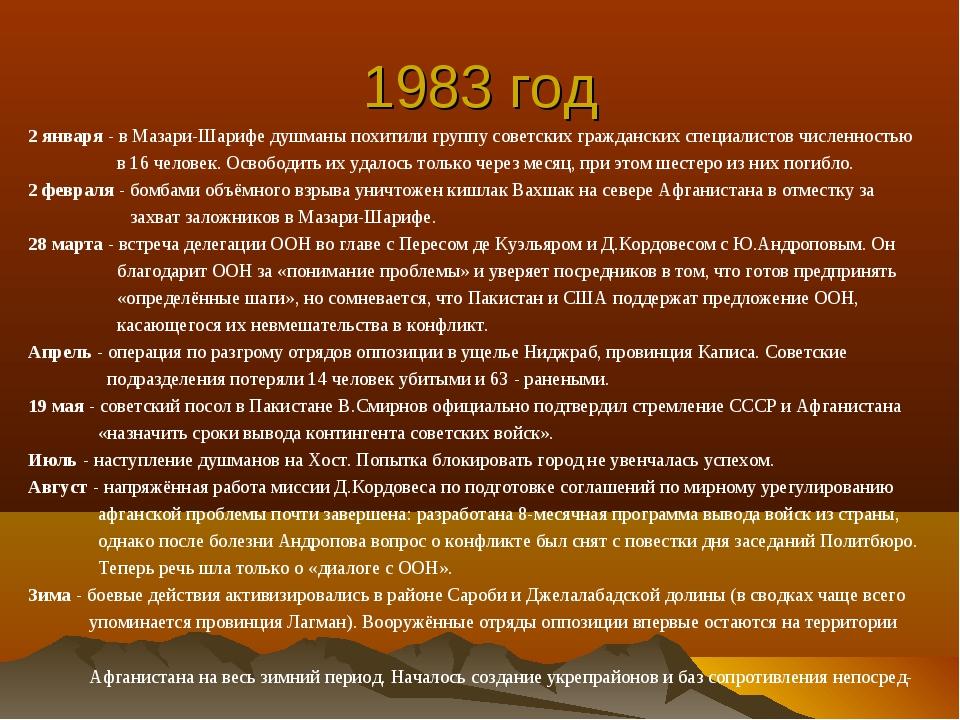 1983 год 2 января - в Мазари-Шарифе душманы похитили группу советских граждан...