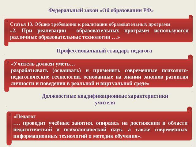Федеральный закон «Об образовании РФ» Статья 13. Общие требования к реализаци...