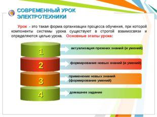СОВРЕМЕННЫЙ УРОК ЭЛЕКТРОТЕХНИКИ 1 актуализация прежних знаний (и умений) 2 3