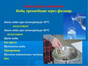 Параметры сравнения. Вода, прошедшая через фильтр. Запах воды при температуре