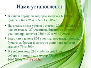 В нашей стране за год производится 6000 т.т. бумаги - 16т 695кг = 5983 т. 305