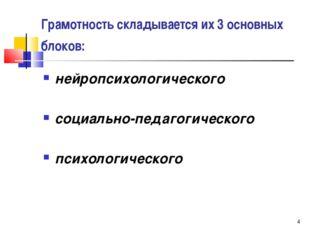 * Грамотность складывается их 3 основных блоков: нейропсихологического социал