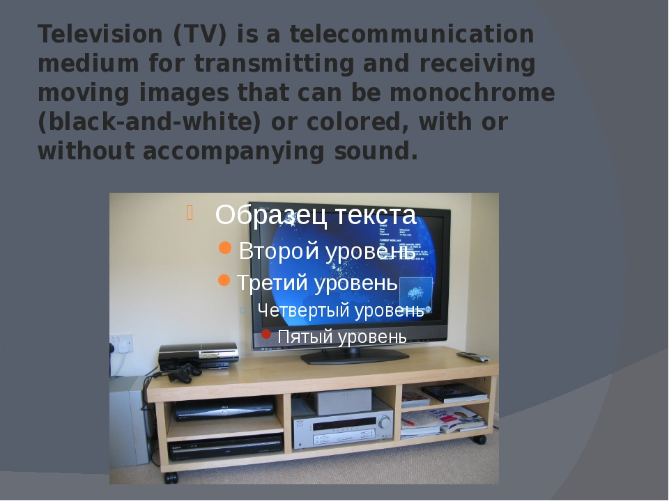 Television (TV) is a telecommunication medium for transmitting and receiving...