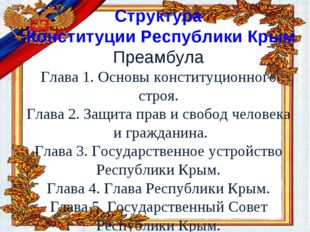 Структура Конституции Республики Крым Преамбула Глава 1. Основы конституцион