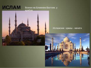 ИСЛАМ Исламские храмы - мечети Возник на Ближнем Востоке, у арабов
