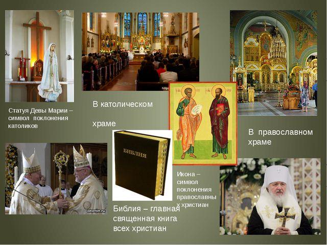 В католическом храме В православном храме Библия – главная священная книга вс...