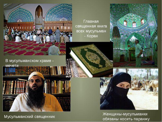 Главная священная книга всех мусульман - Коран В мусульманском храме - мечети...